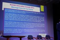 Lifetime achievement award for services to STEM in Norfolk Sir Paul Nurse